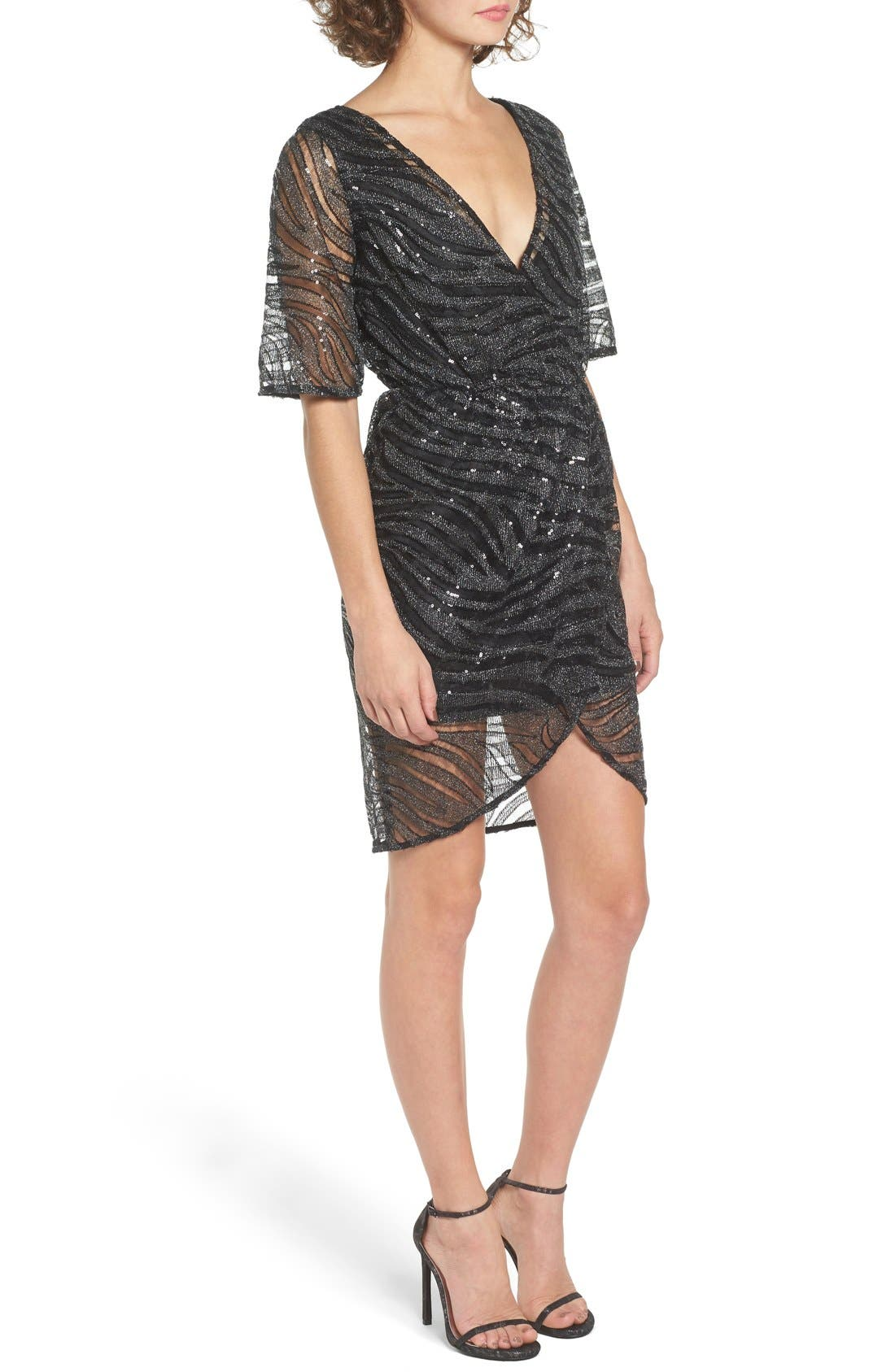 Alternate Image 3  - TFNC Gin Illusion Animal Print Dress