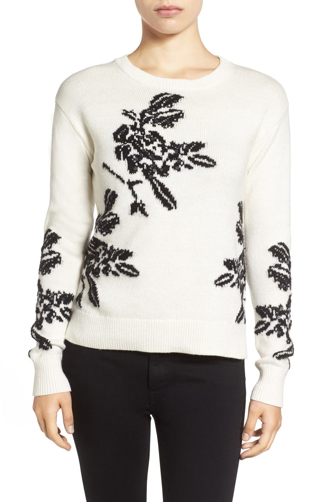 Alternate Image 1 Selected - Halogen® Floral Intarsia Knit Sweater