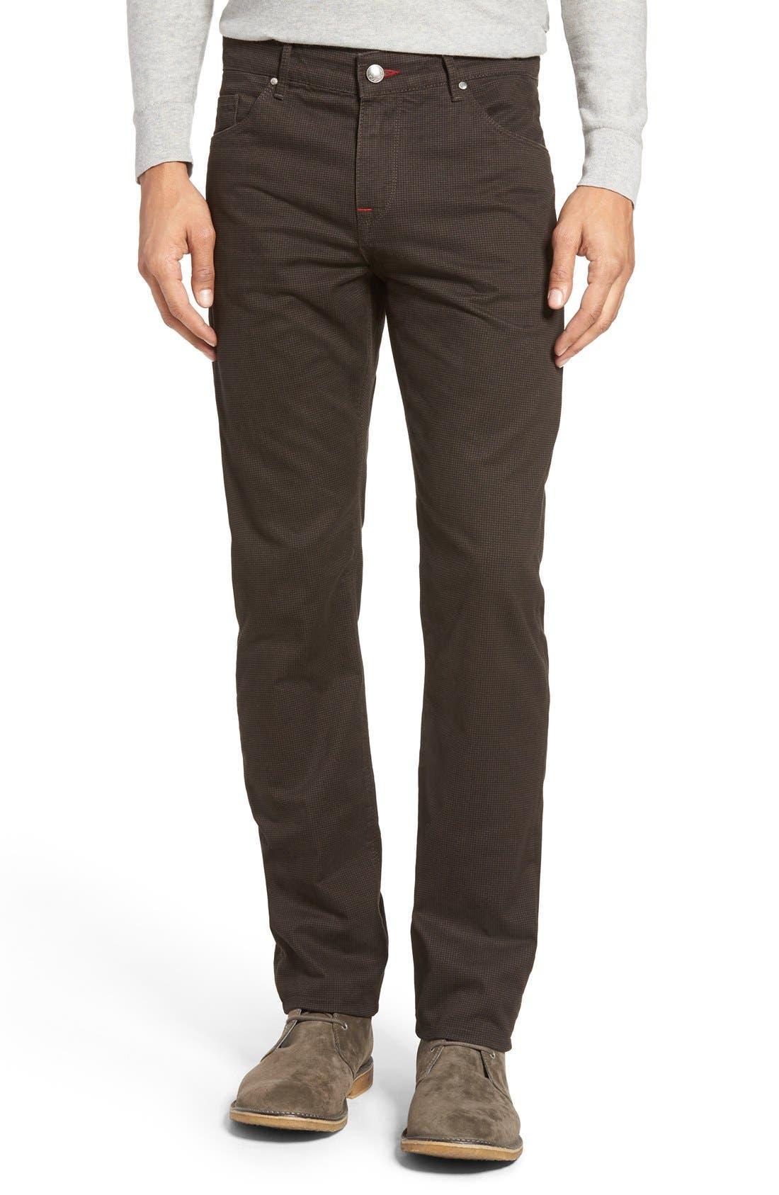 Mini Check Five-Pocket Pants,                             Main thumbnail 1, color,                             Truffle