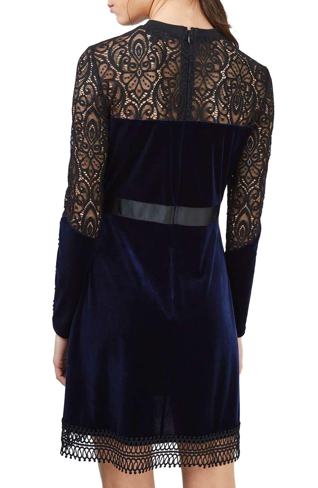 Alternate Image 3  - Topshop Lace & Velvet Dress