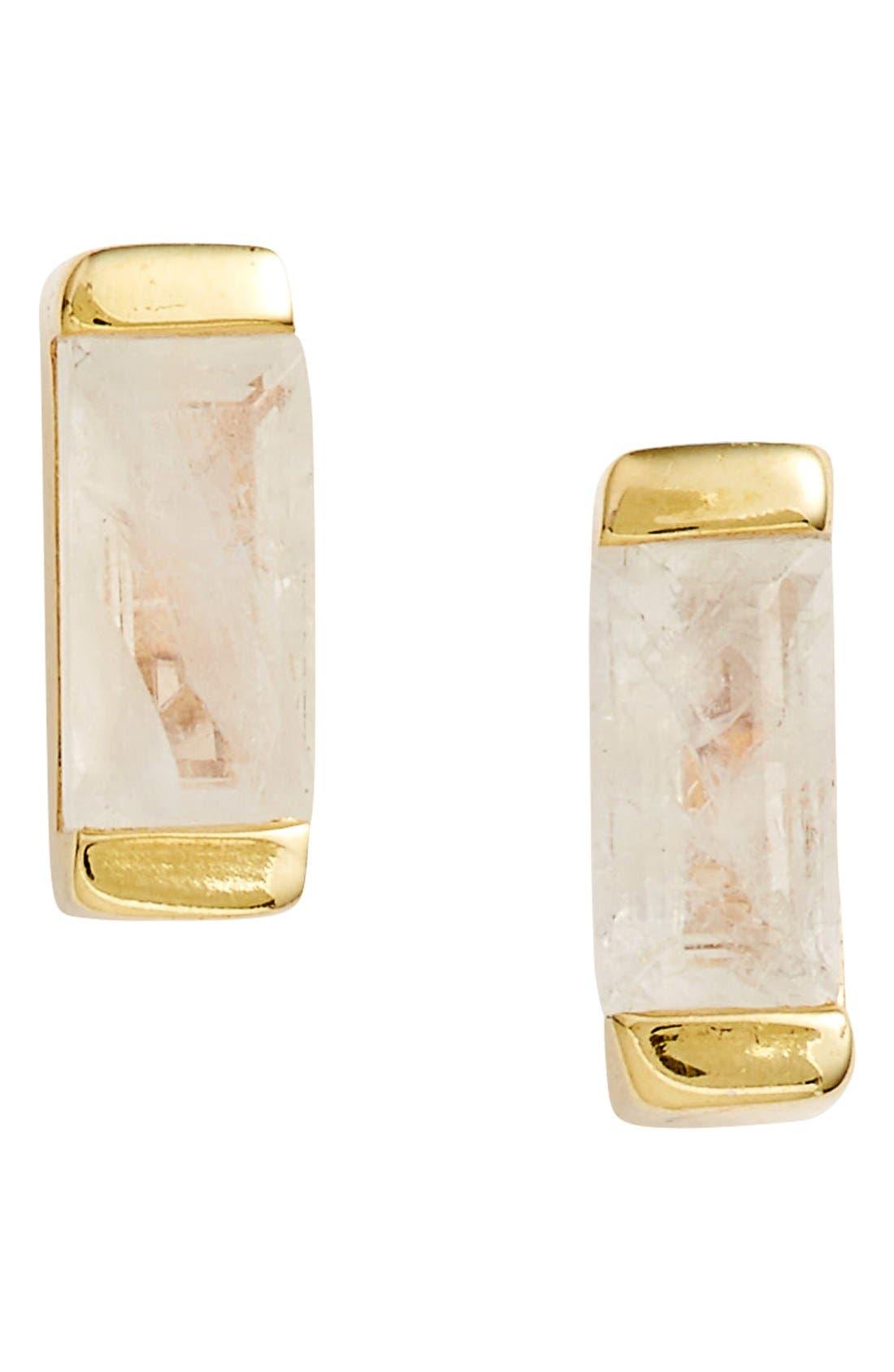 Semiprecious Stone Stud Earrings,                         Main,                         color, Moonstone / Gold