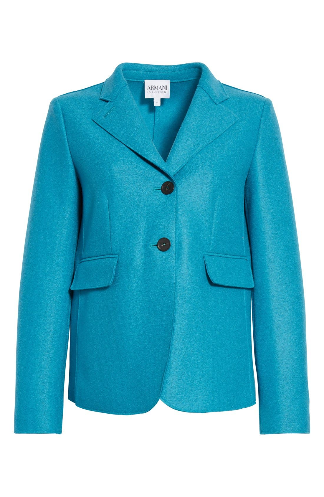 Double Face Wool Jacket,                             Alternate thumbnail 4, color,                             Azure