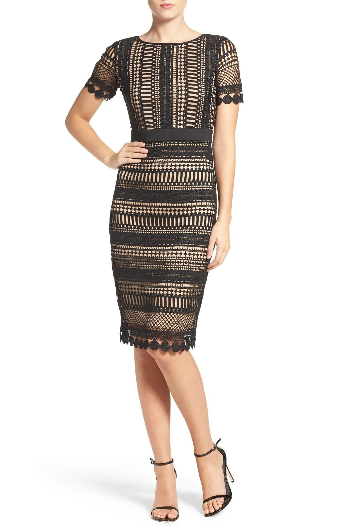 Alternate Image 1 Selected - Gabby Skye Embroidered Lace Shift Dress