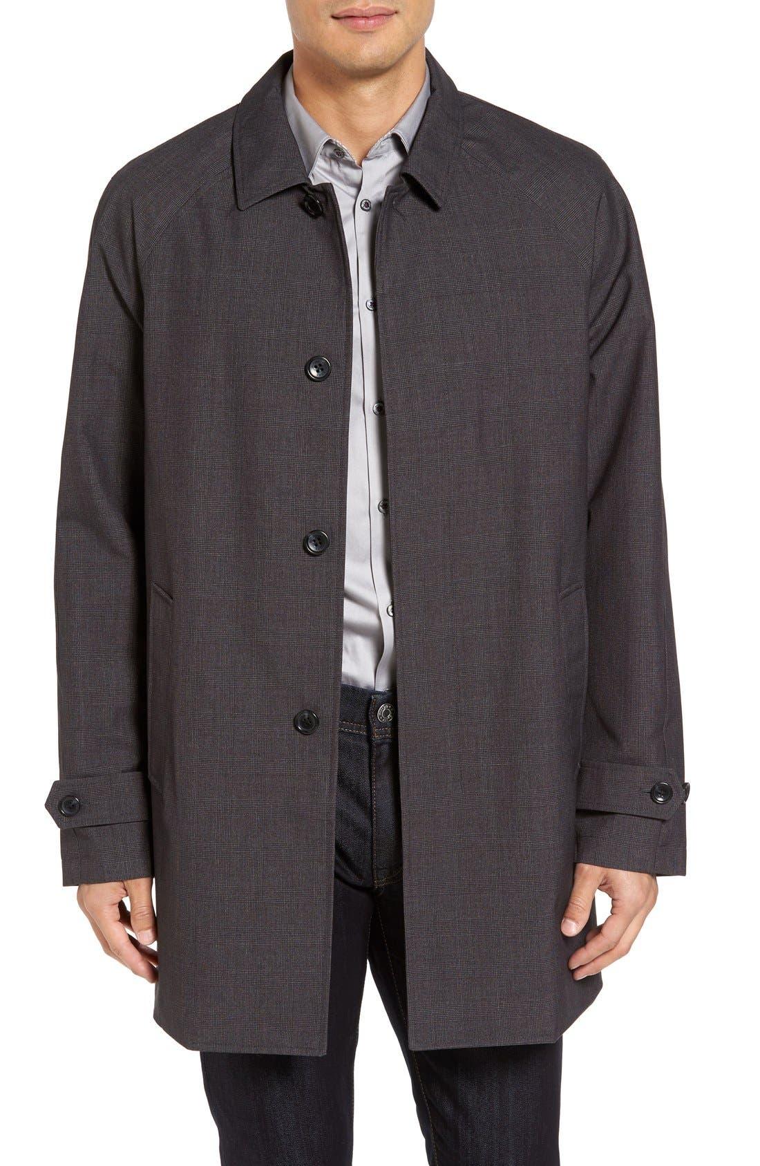 Waterproof Jacket,                         Main,                         color, Charcoal Plaid