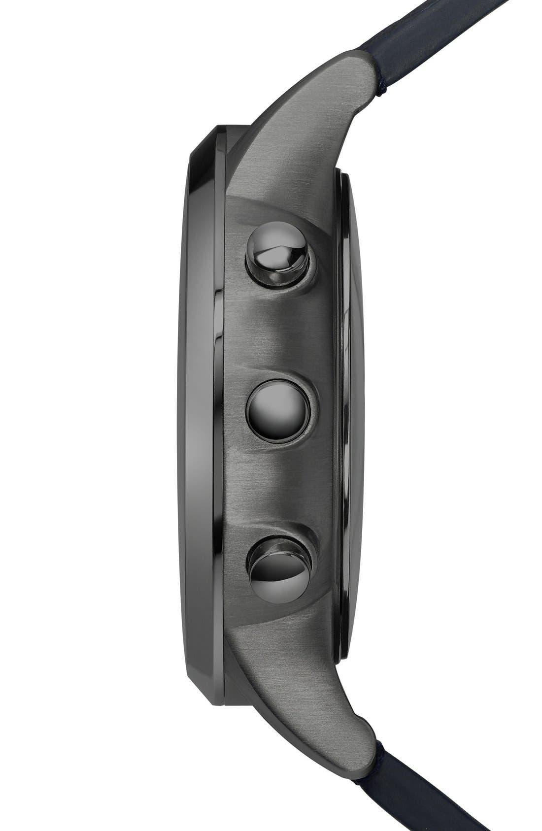 Leather Strap Hybrid Smart Watch, 43mm,                             Alternate thumbnail 3, color,                             Black/ Blue