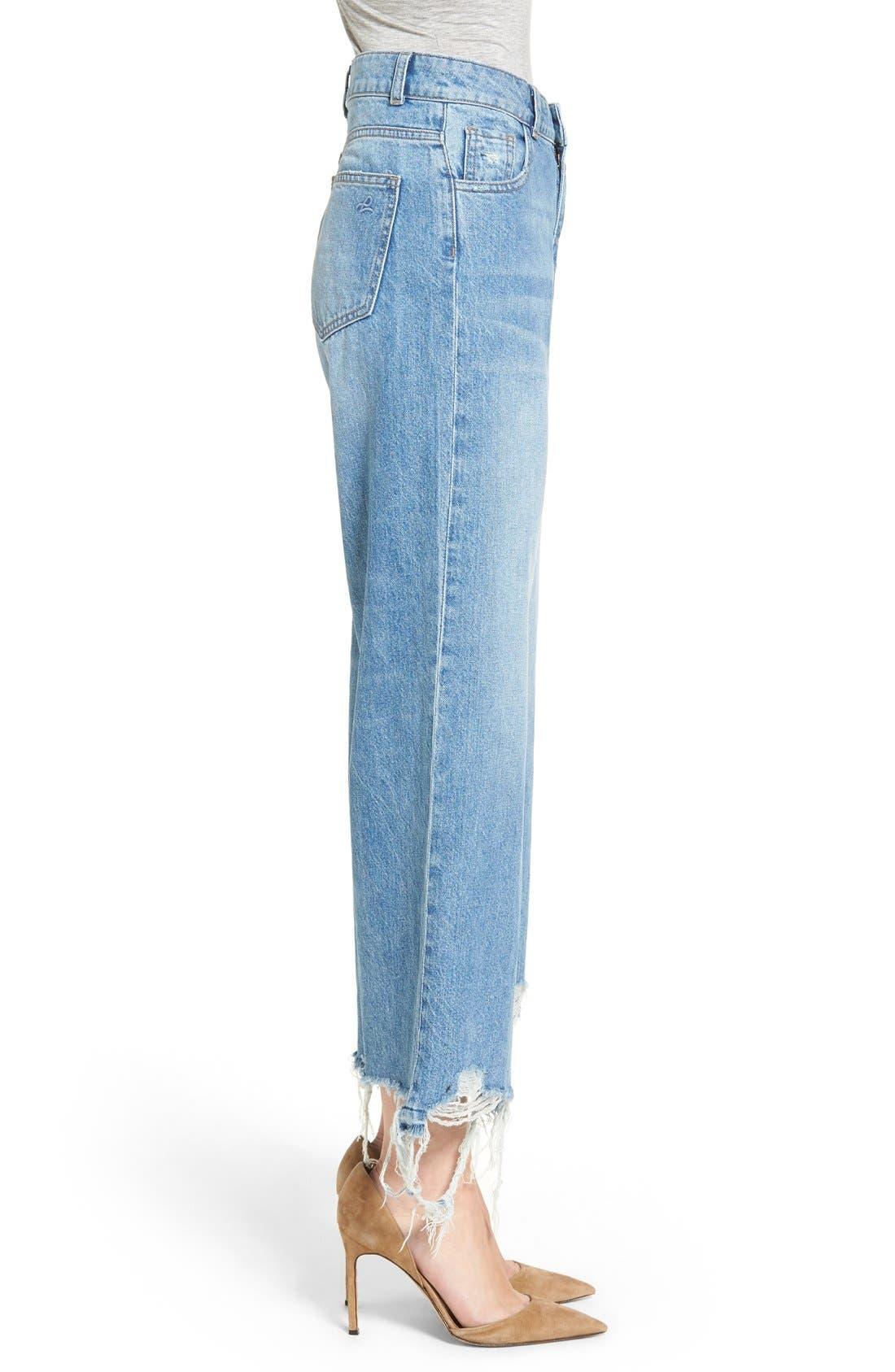 Hepburn High Rise Wide Leg Jeans,                             Alternate thumbnail 3, color,                             Slate