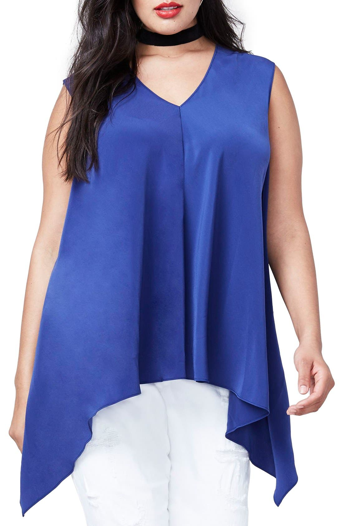 Alternate Image 1 Selected - RACHEL Rachel Roy Side Drape Top (Plus Size)