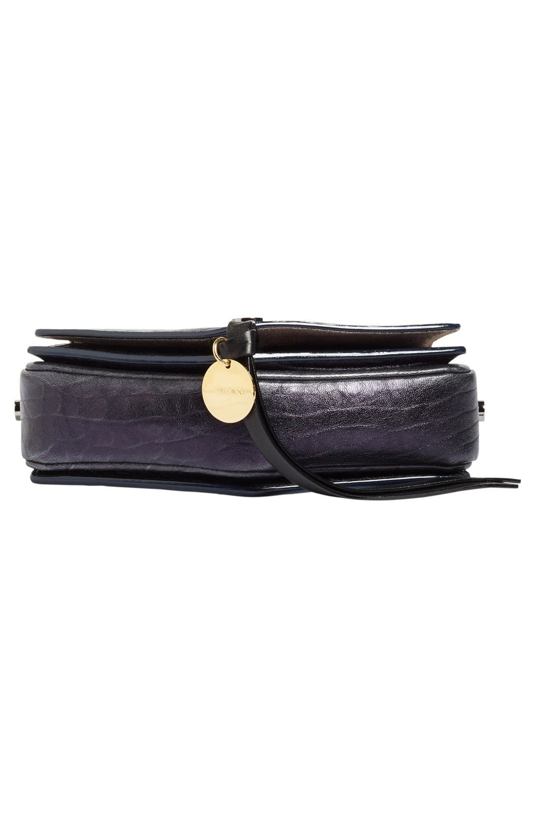 Arrow Metallic Grained Leather Shoulder Bag,                             Alternate thumbnail 6, color,                             Navy