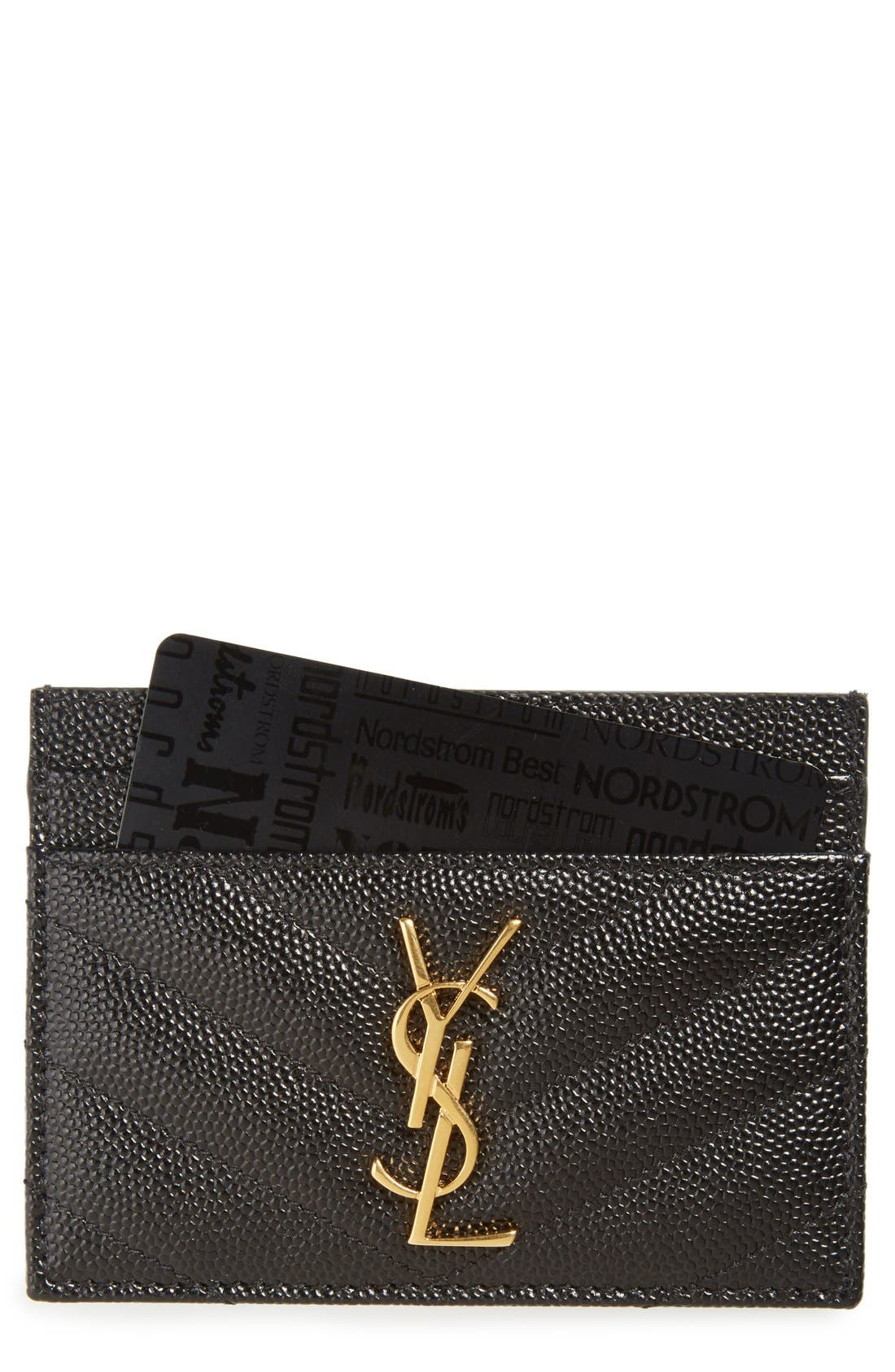 Monogram Quilted Leather Credit Card Case,                             Main thumbnail 1, color,                             Nero