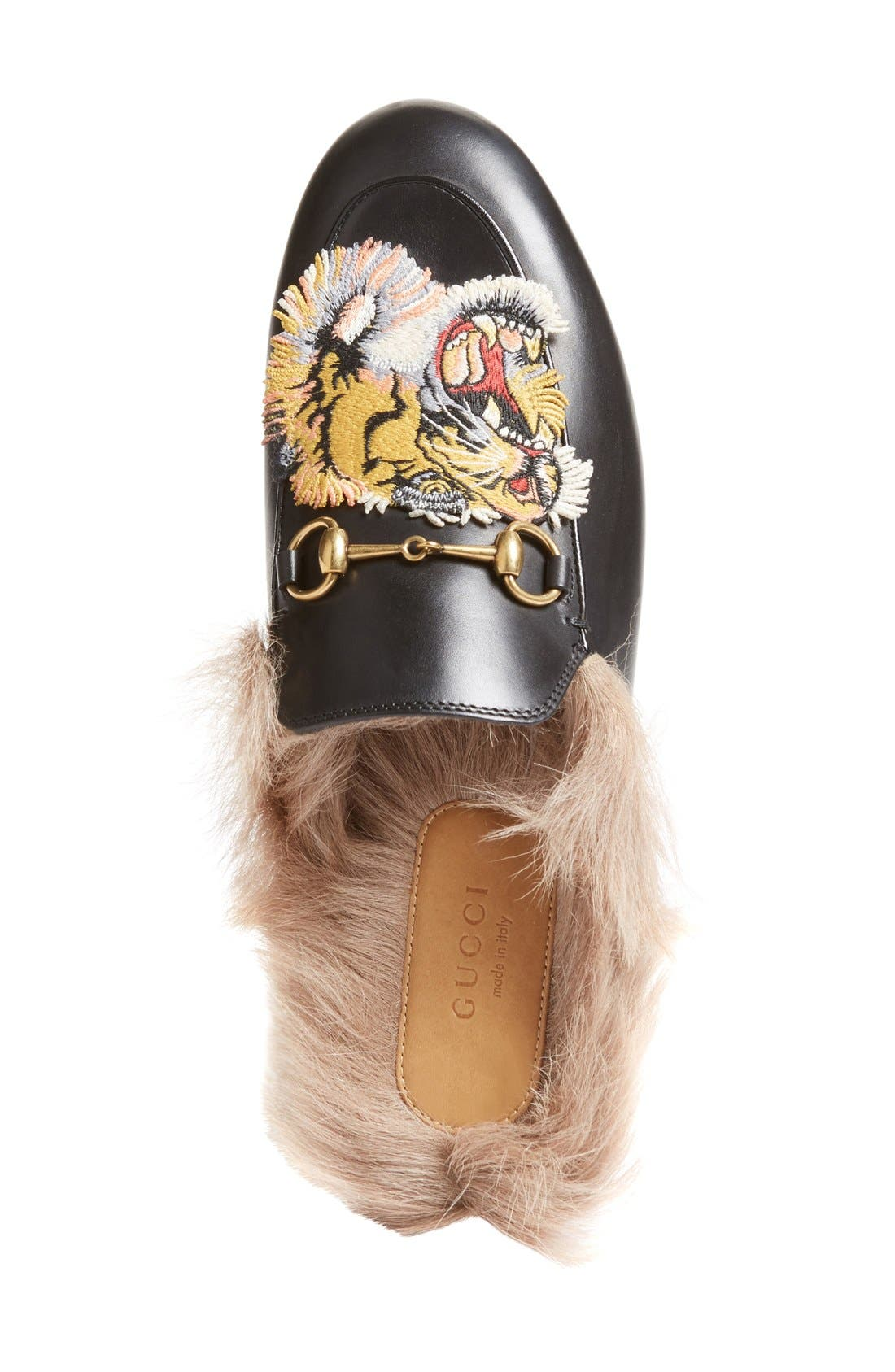 Princetown Genuine Fur Loafer Mule,                             Alternate thumbnail 3, color,                             Black Print Leather