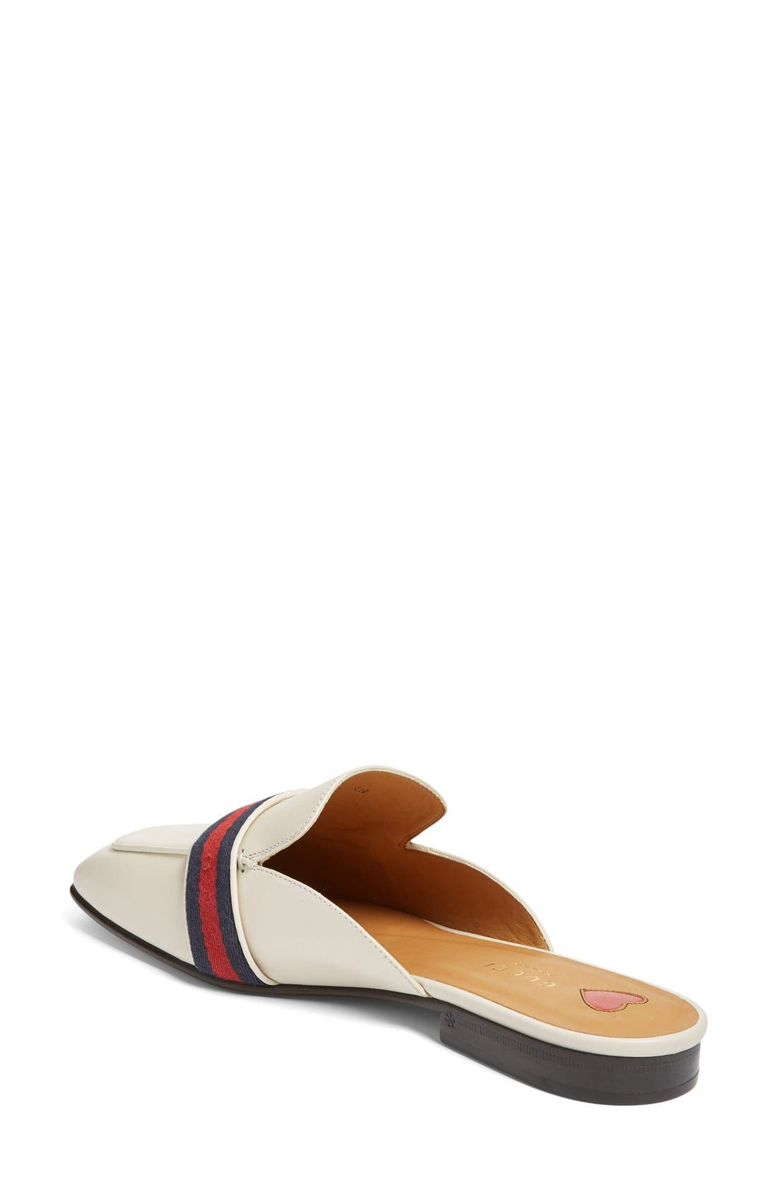 Loafer Mule,                             Alternate thumbnail 2, color,                             White Leather