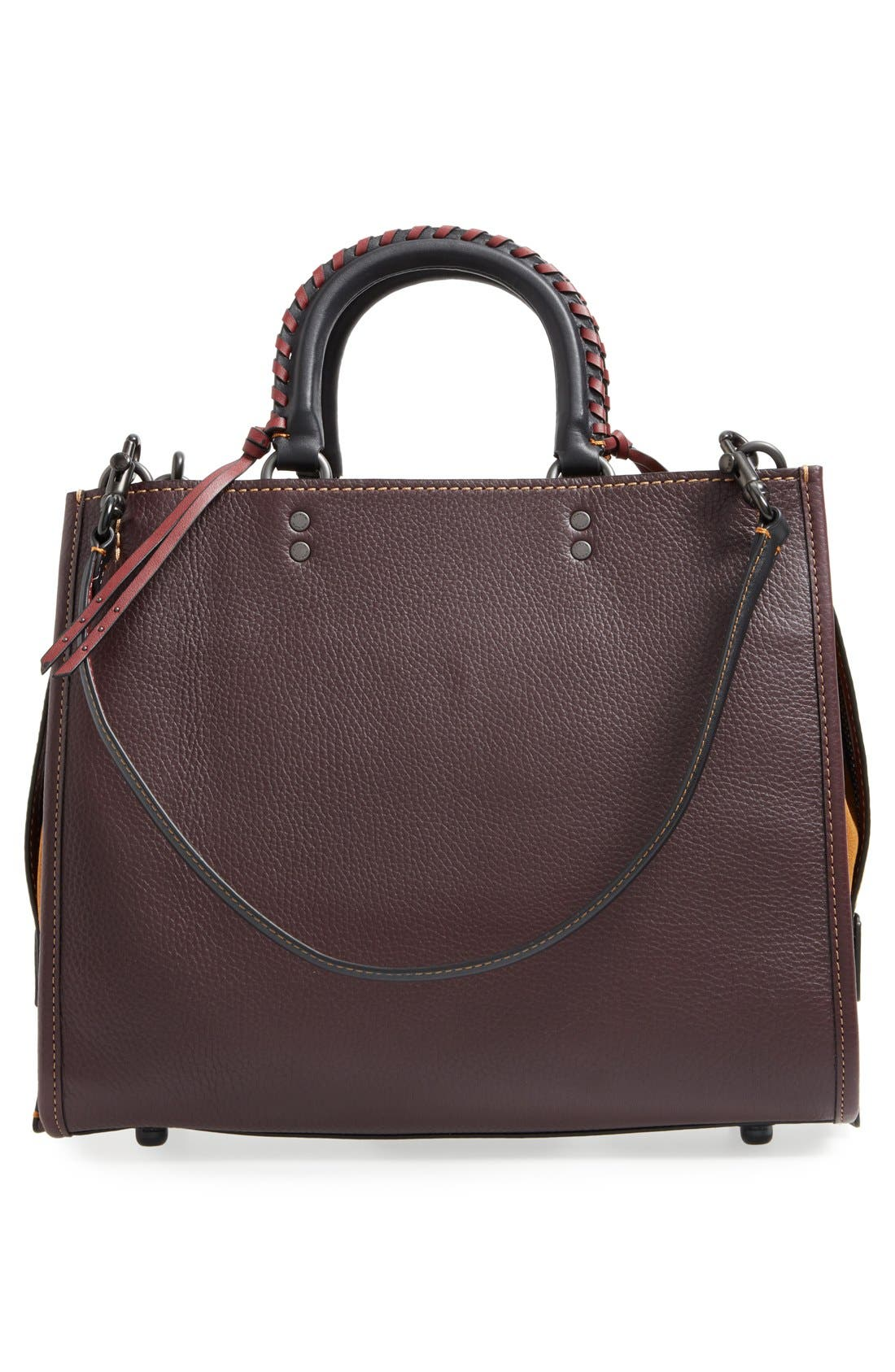 Embellished Handle Rogue Leather Satchel,                             Alternate thumbnail 2, color,                             Oxblood