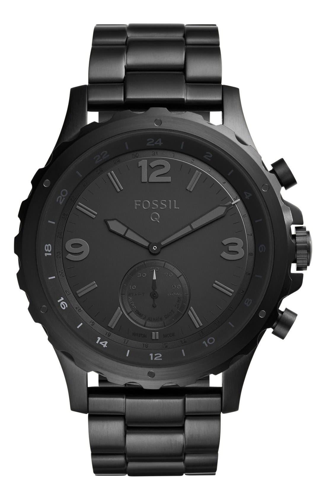 Nate Bracelet Hybrid Smart Watch, 50mm,                             Main thumbnail 1, color,                             Black