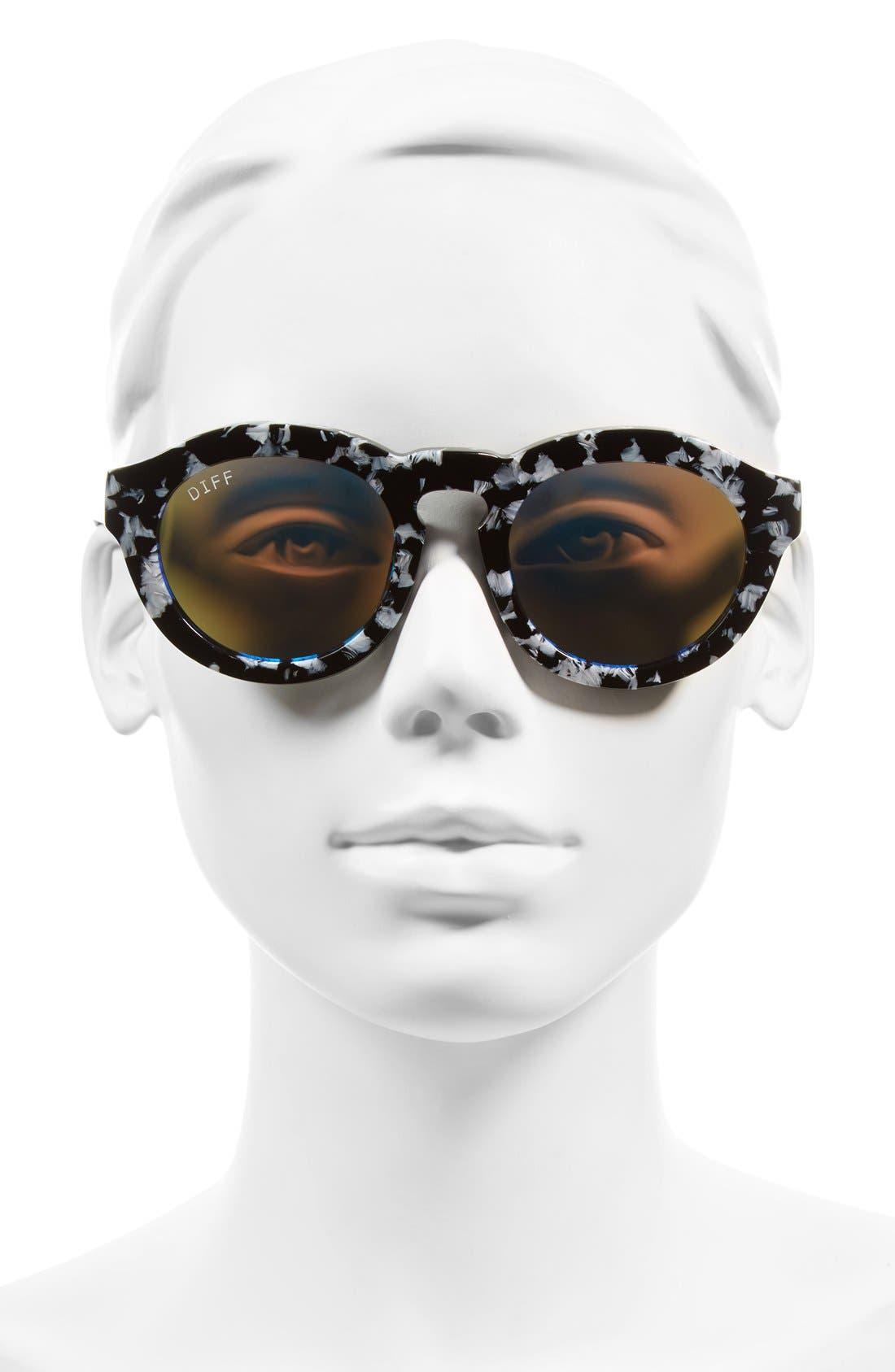 Dime 48mm Retro Sunglasses,                             Alternate thumbnail 2, color,                             Black White/ Blue