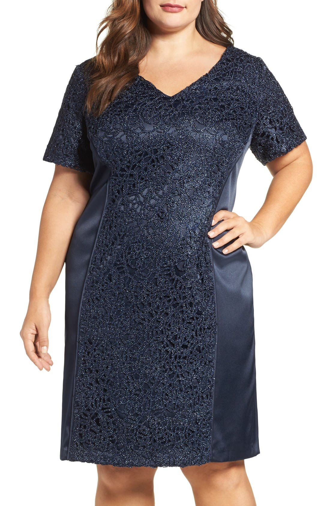 Brianna Satin & Lace Sheath Dress (Plus Size)