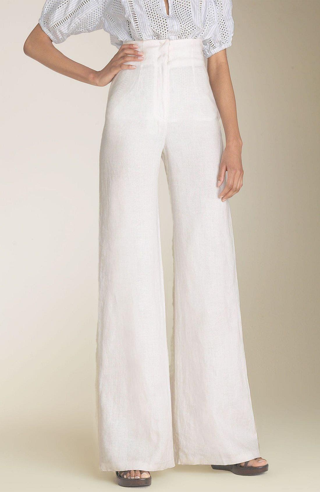 Main Image - Organic John Patrick High Waist Crinkled Linen Pants