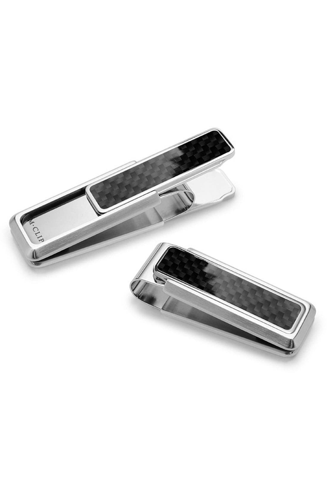 'Discovery Line' Stainless Steel Money Clip,                             Main thumbnail 1, color,                             Black