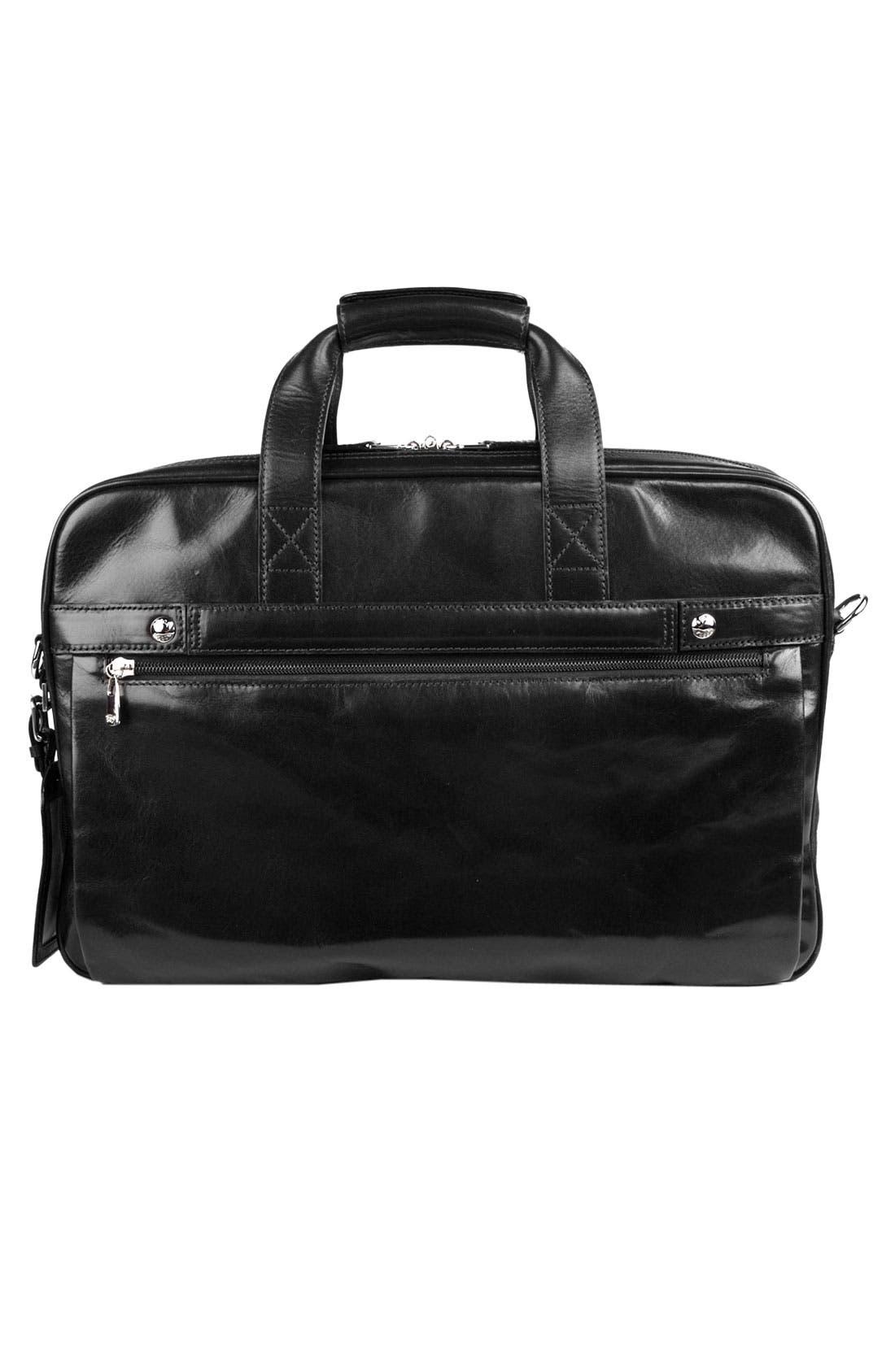Double Compartment Leather Briefcase,                             Alternate thumbnail 2, color,                             Black