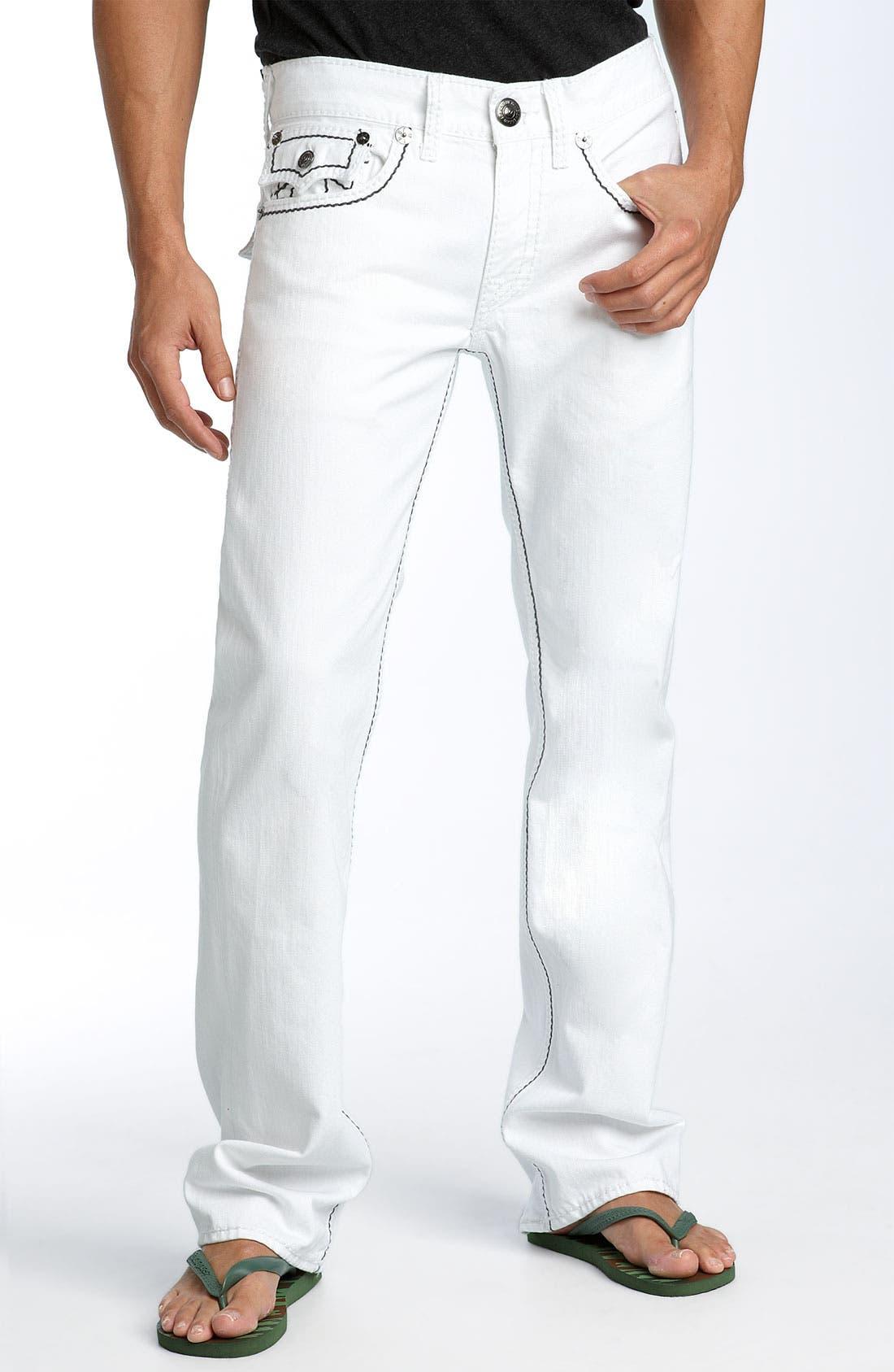 'Ricky - Giant Big T' Straight Leg Jeans,                             Alternate thumbnail 2, color,                             Body Rinse White