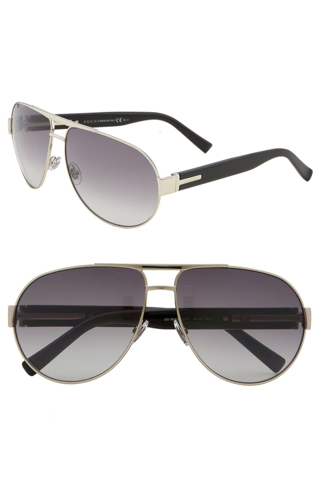Alternate Image 1 Selected - Gucci Stainless Steel Aviator Sunglasses
