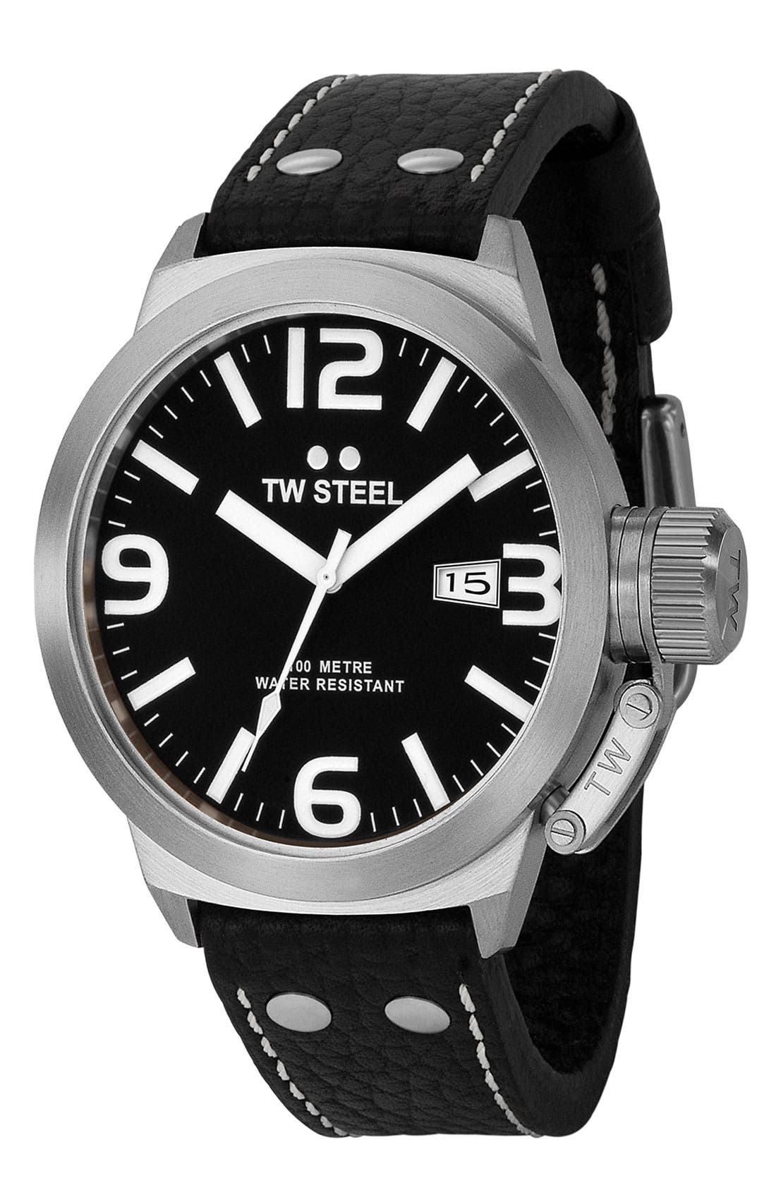 Alternate Image 1 Selected - TW Steel Leather Strap Watch