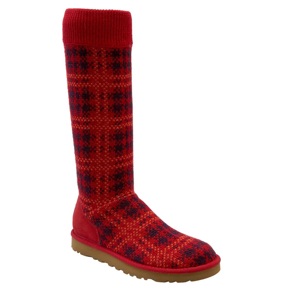 Main Image - UGG® Australia Plaid Knit Boot (Women)