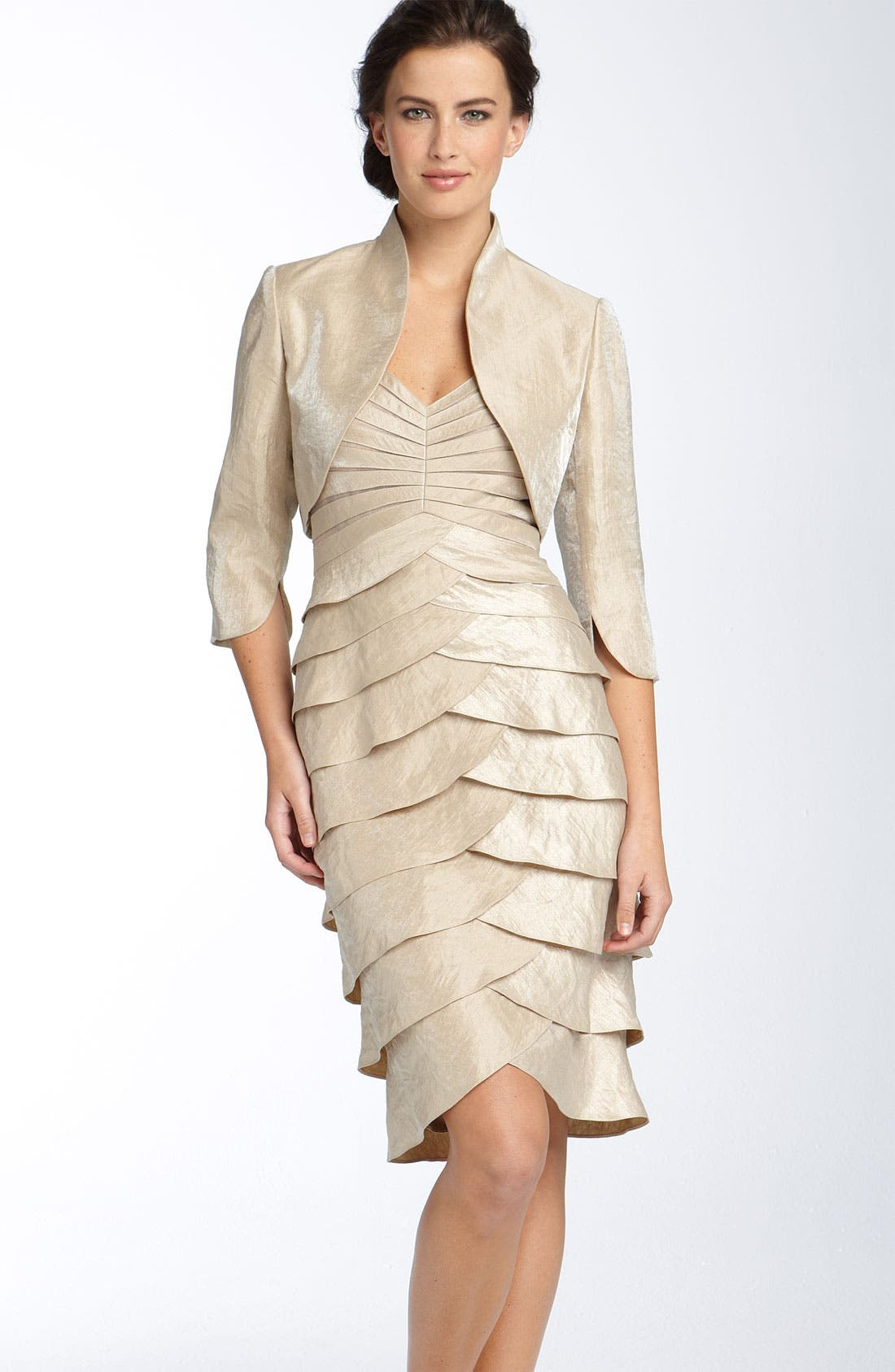 Alternate Image 1 Selected - Adrianna Papell Tiered Hammered Satin Sheath Dress & Bolero (Regular & Petite)