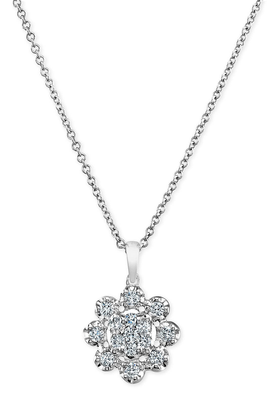 Main Image - Bony Levy Diamond Flower Pendant Necklace (Nordstrom Exclusive)