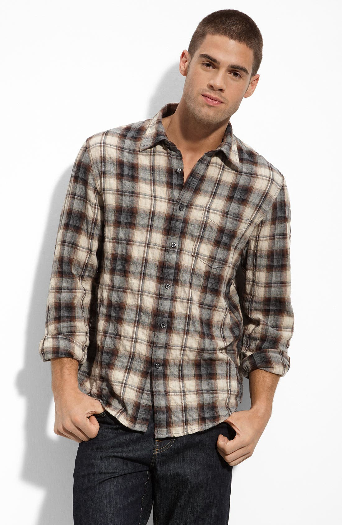 Alternate Image 1 Selected - J. Campbell Crinkled Plaid Shirt
