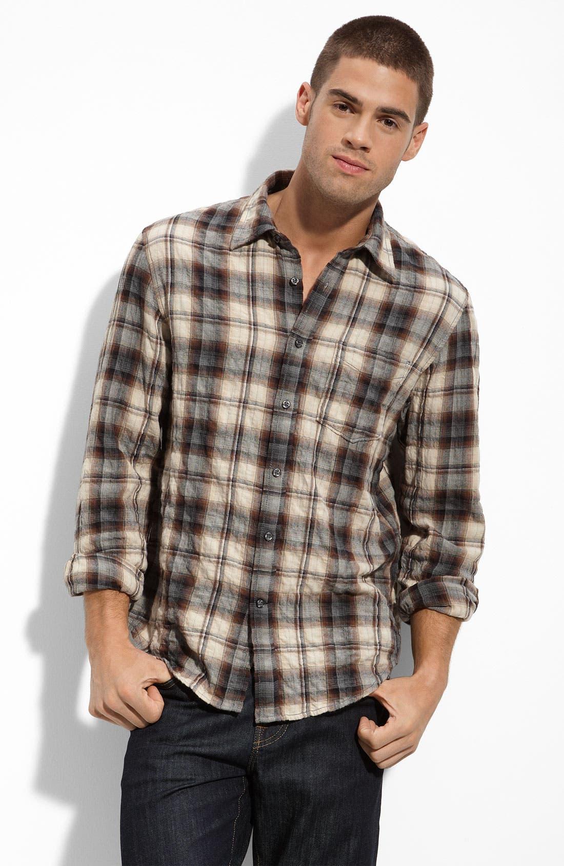 J. Campbell Crinkled Plaid Shirt,                         Main,                         color, Brown Plaid