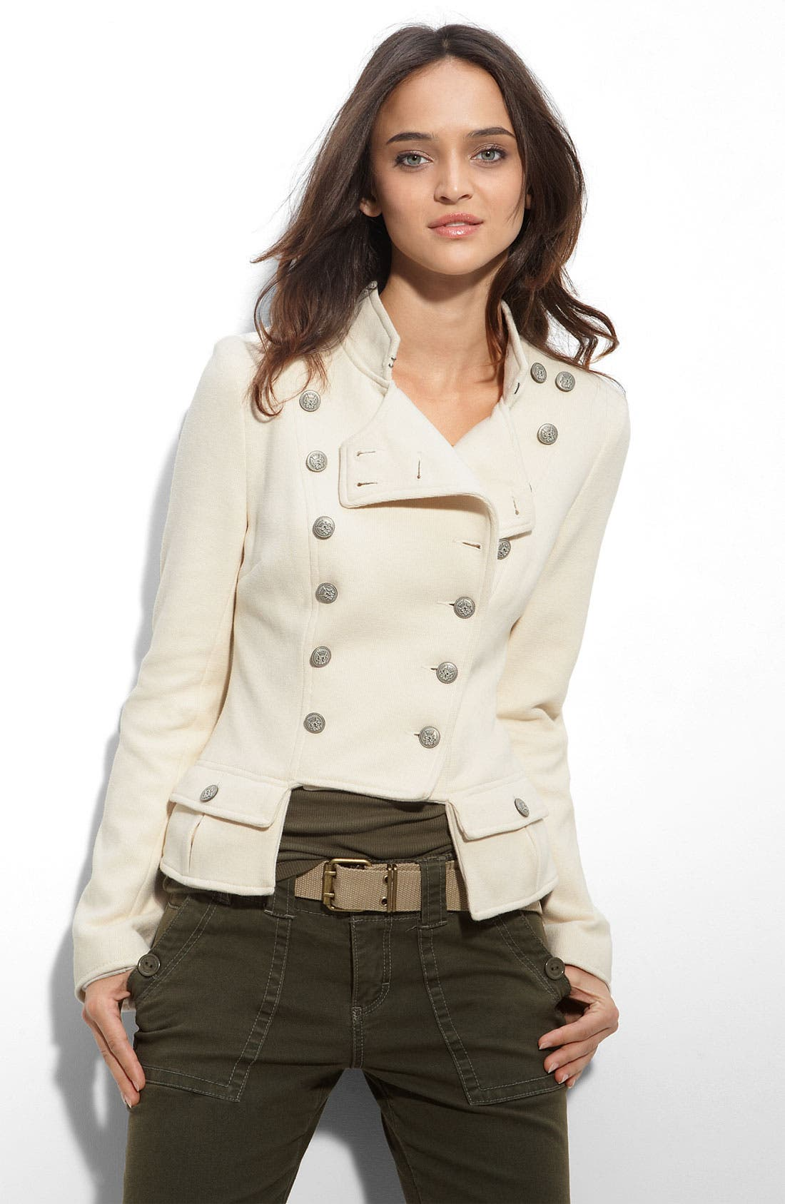 We the Free by Free People 'Majorette' Sweater Jacket,                             Main thumbnail 1, color,                             Ivory