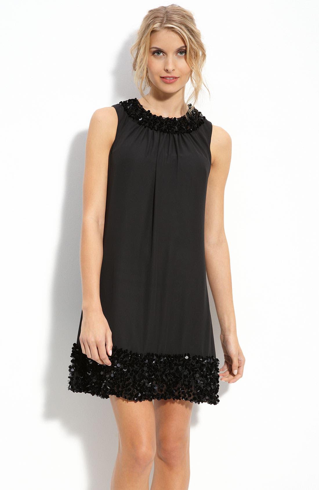 Main Image - JS Boutique Paillette Trim Chiffon Trapeze Dress
