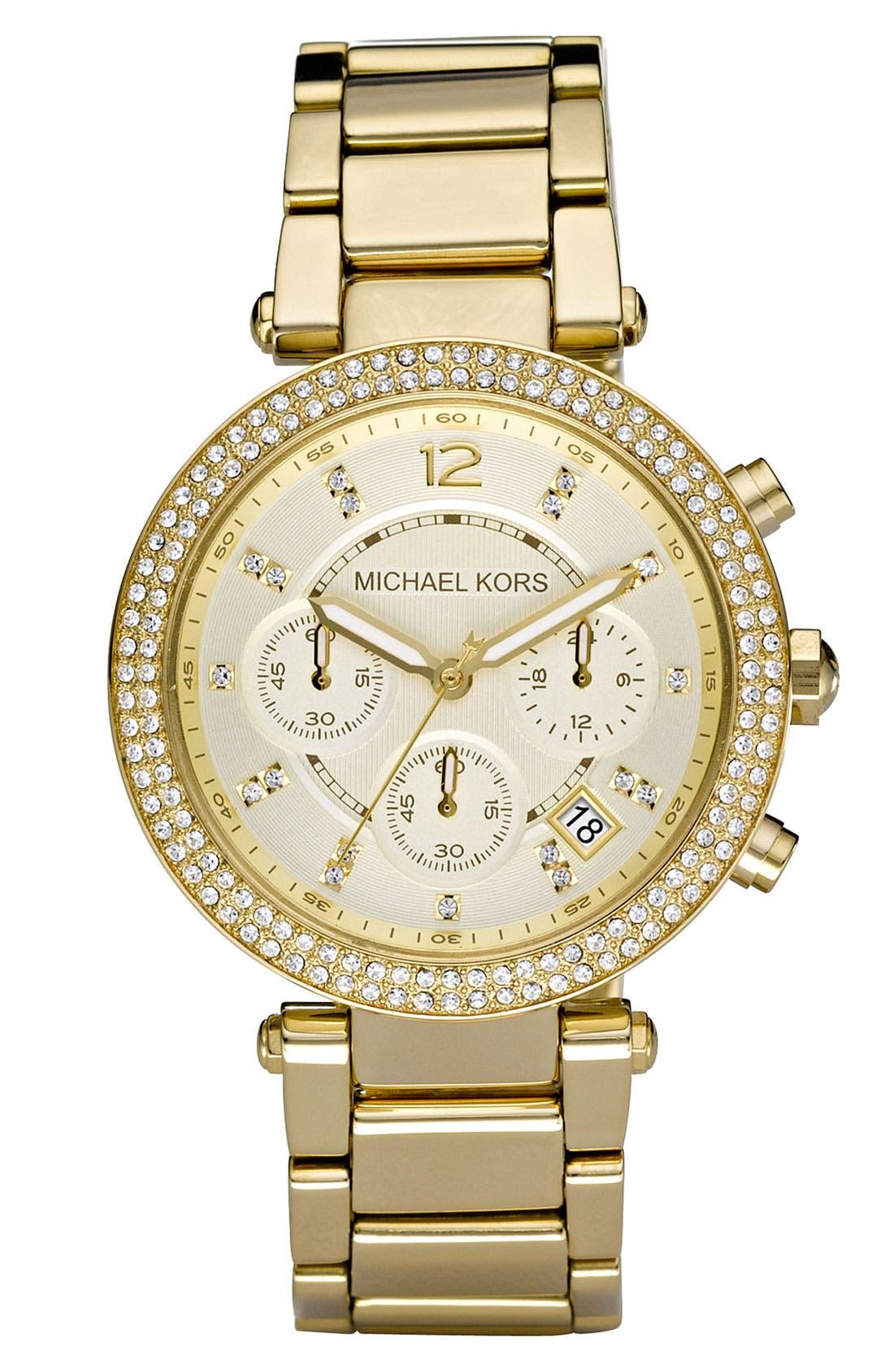 Michael Kors 'Parker' Chronograph Bracelet Watch, 39mm,                             Main thumbnail 1, color,                             Gold
