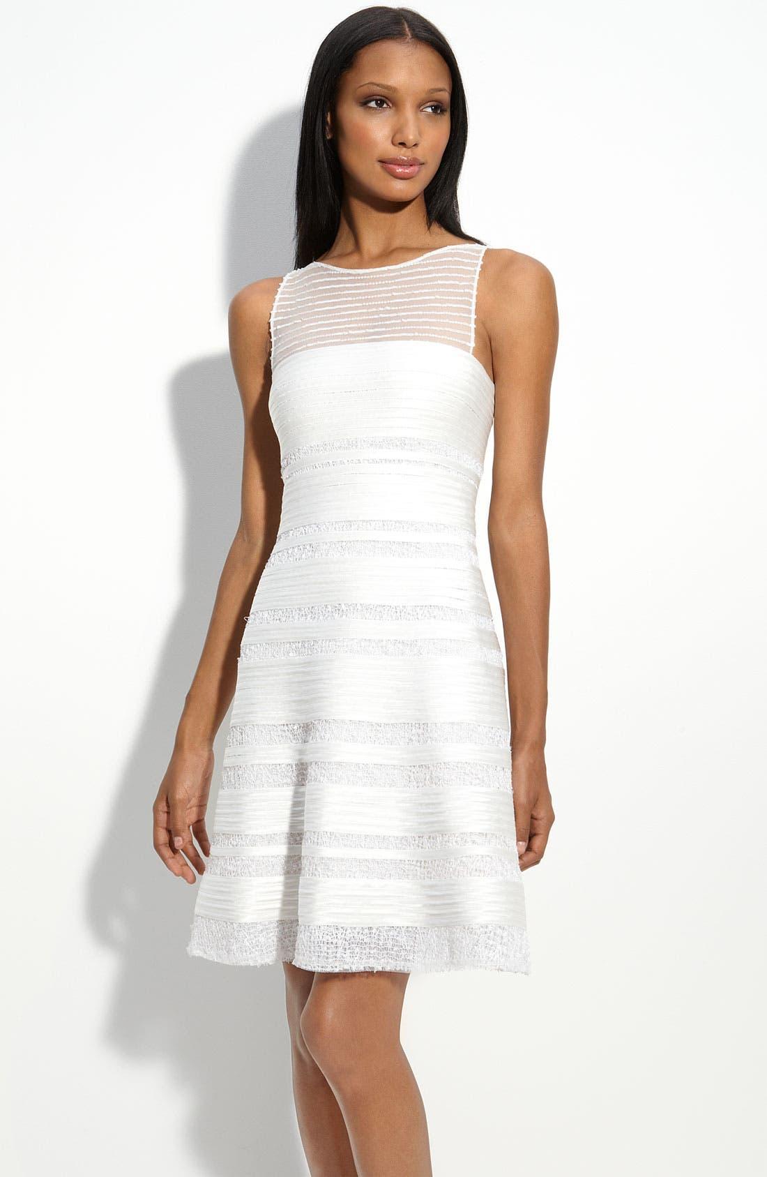 Main Image - BCBGMAXAZRIA Illusion Bodice Dress with Sequin Trim