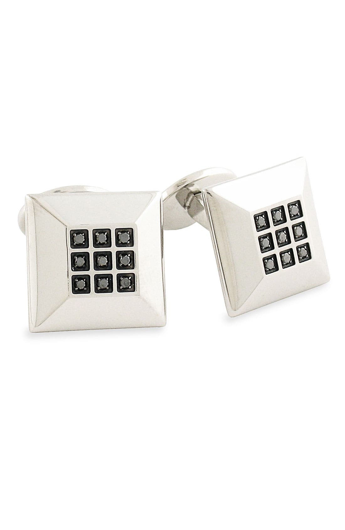 Main Image - David Donahue Diamond Accent Steel Cuff Links