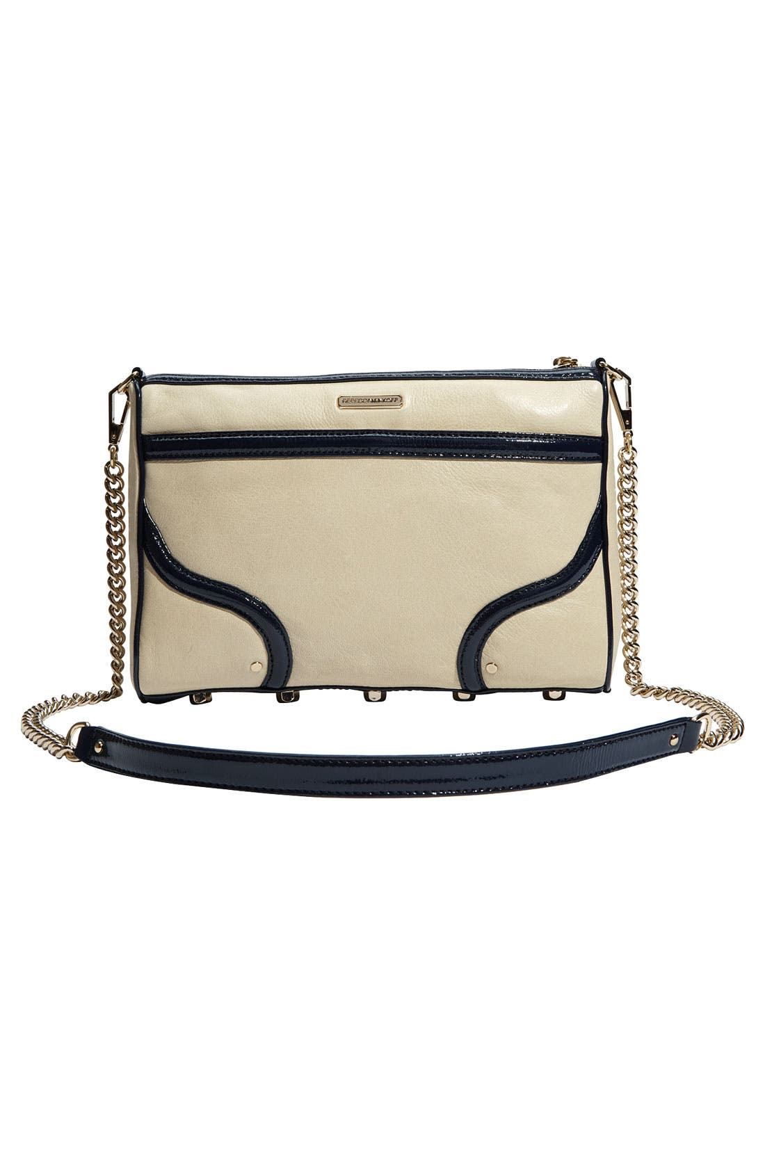 'Bombe MAC' Leather Crossbody Clutch,                             Alternate thumbnail 4, color,                             Ivory W/ Navy Trim