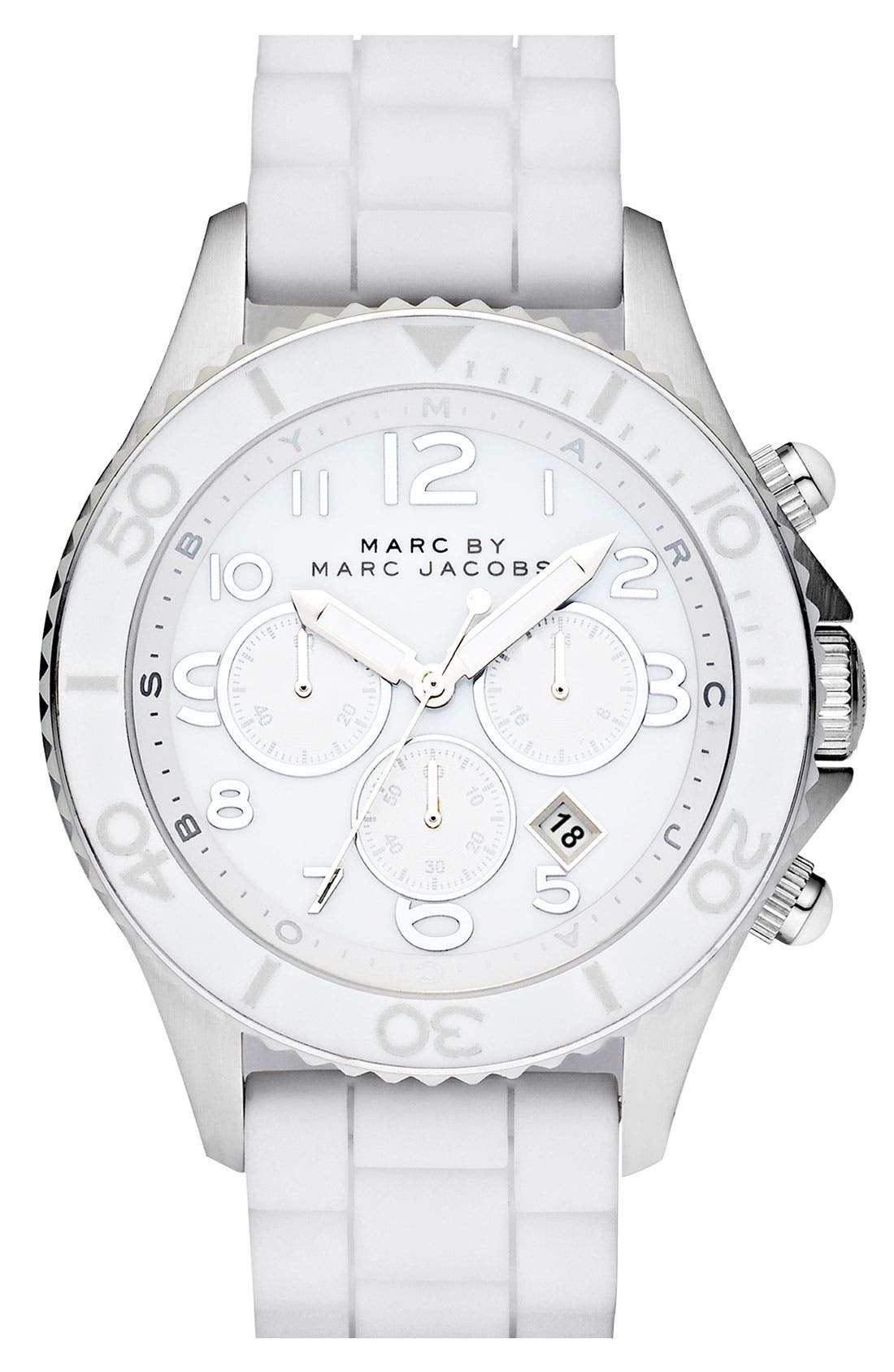 Alternate Image 1 Selected - MARC BY MARC JACOBS 'Rock' Large Chronograph Silicone Watch