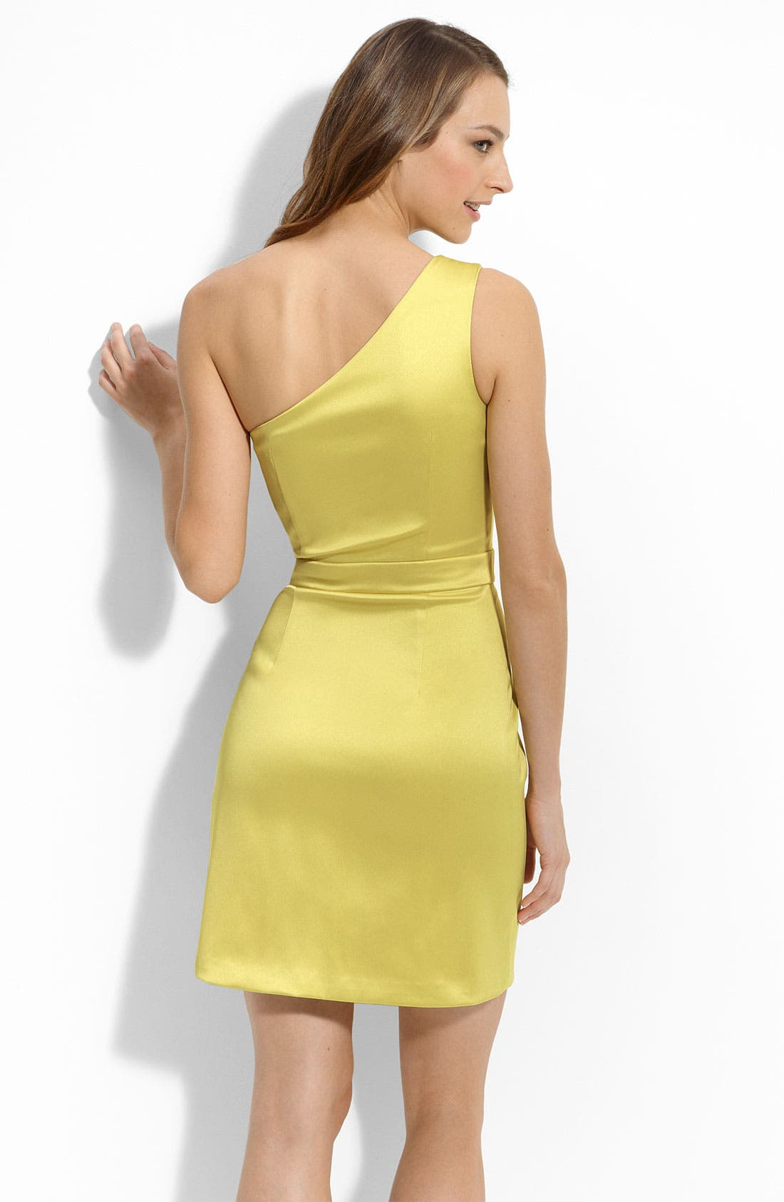 Alternate Image 2  - Max & Cleo One Shoulder Stretch Satin Dress