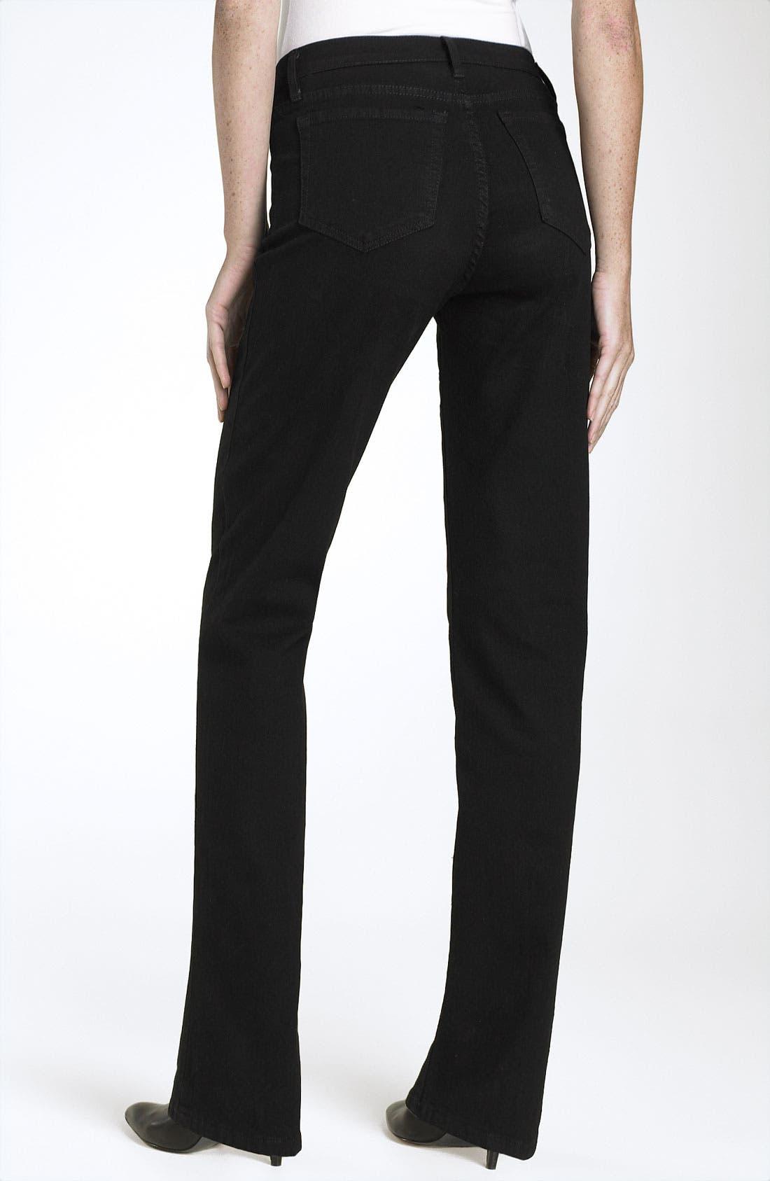 Straight Leg Stretch Jeans,                             Main thumbnail 1, color,                             Black