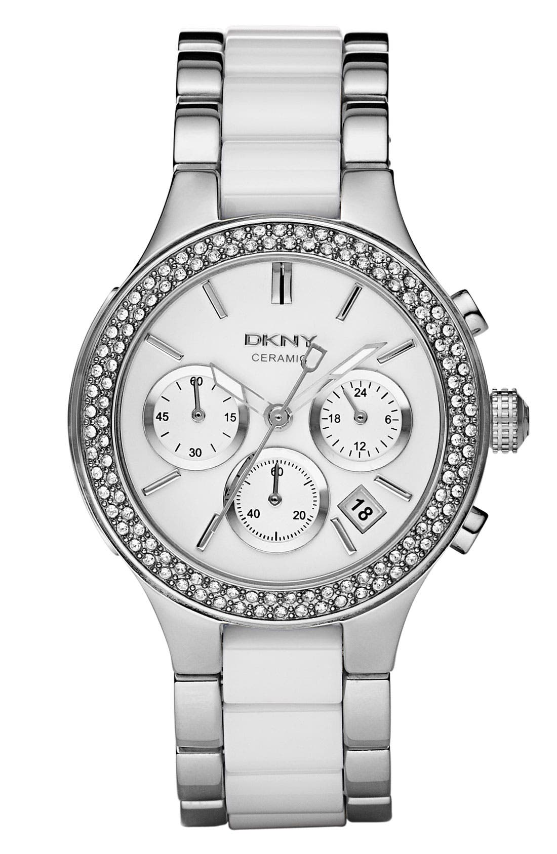 Alternate Image 1 Selected - DKNY 'Chambers' Ceramic & Stainless Steel Crystal Bezel Watch, 38mm