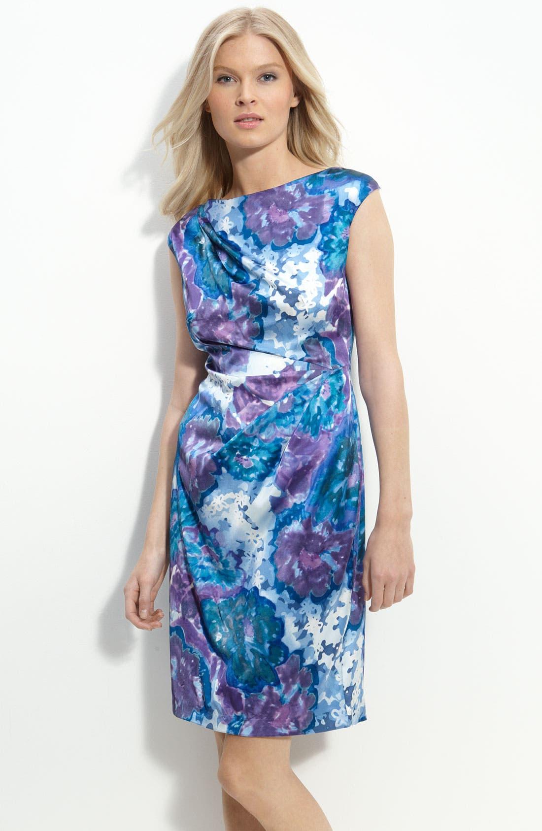 Pleated Stretch Satin Sheath Dress,                         Main,                         color, Blue Slate Multi
