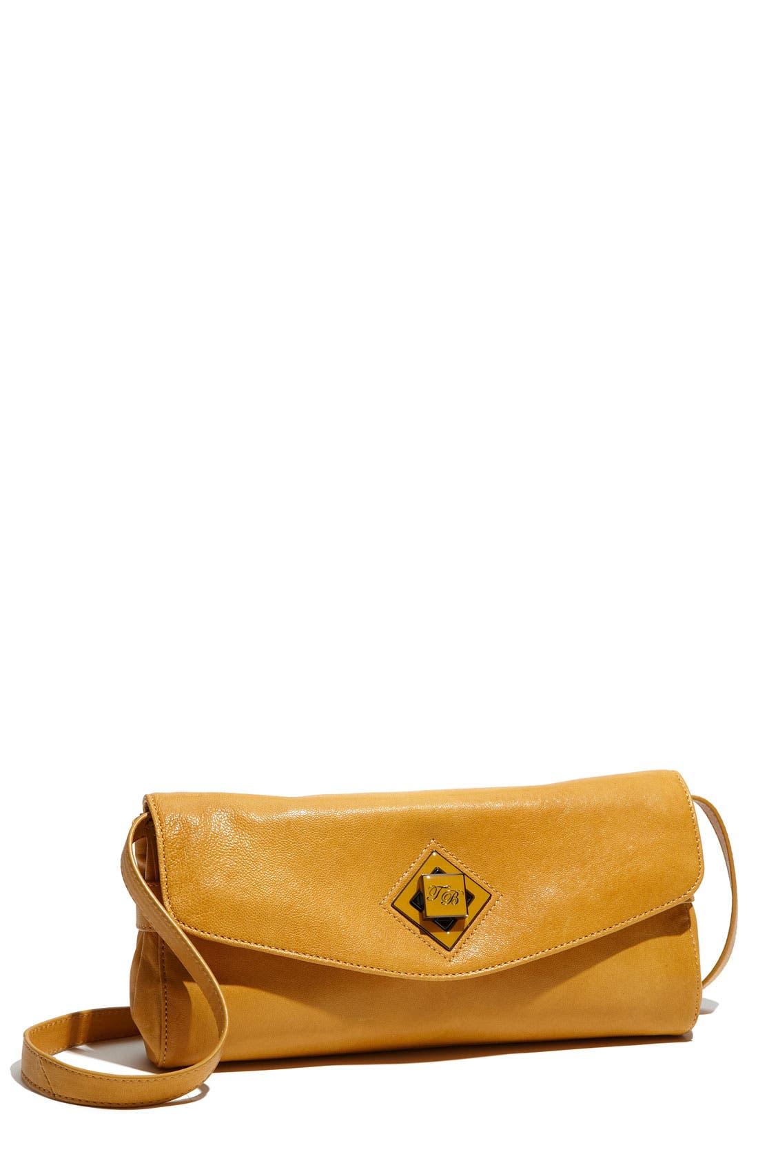 Logo Twistlock Envelope Clutch,                             Main thumbnail 1, color,                             Mustard