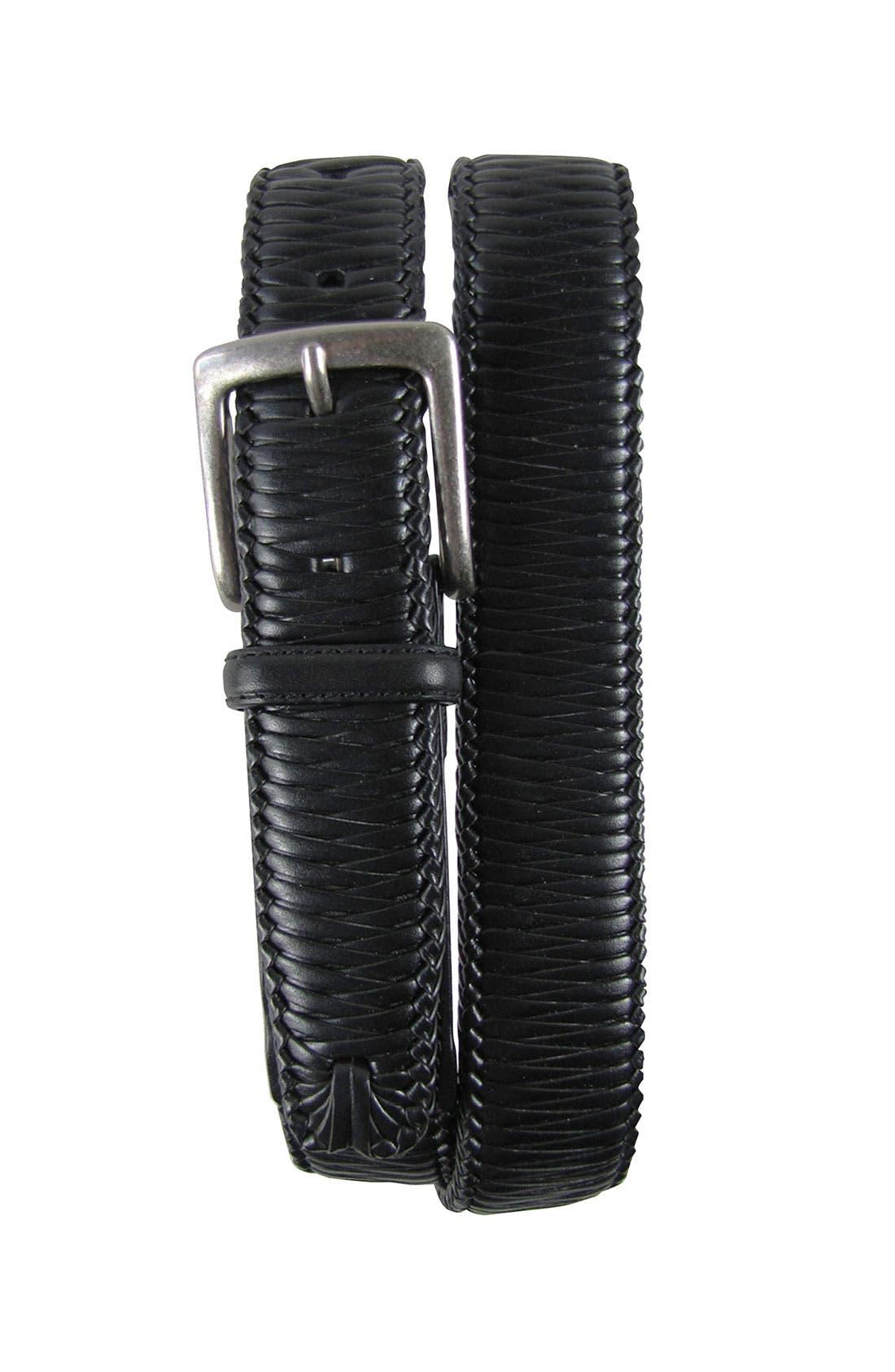 'Largo' Woven Leather Belt,                         Main,                         color, Black