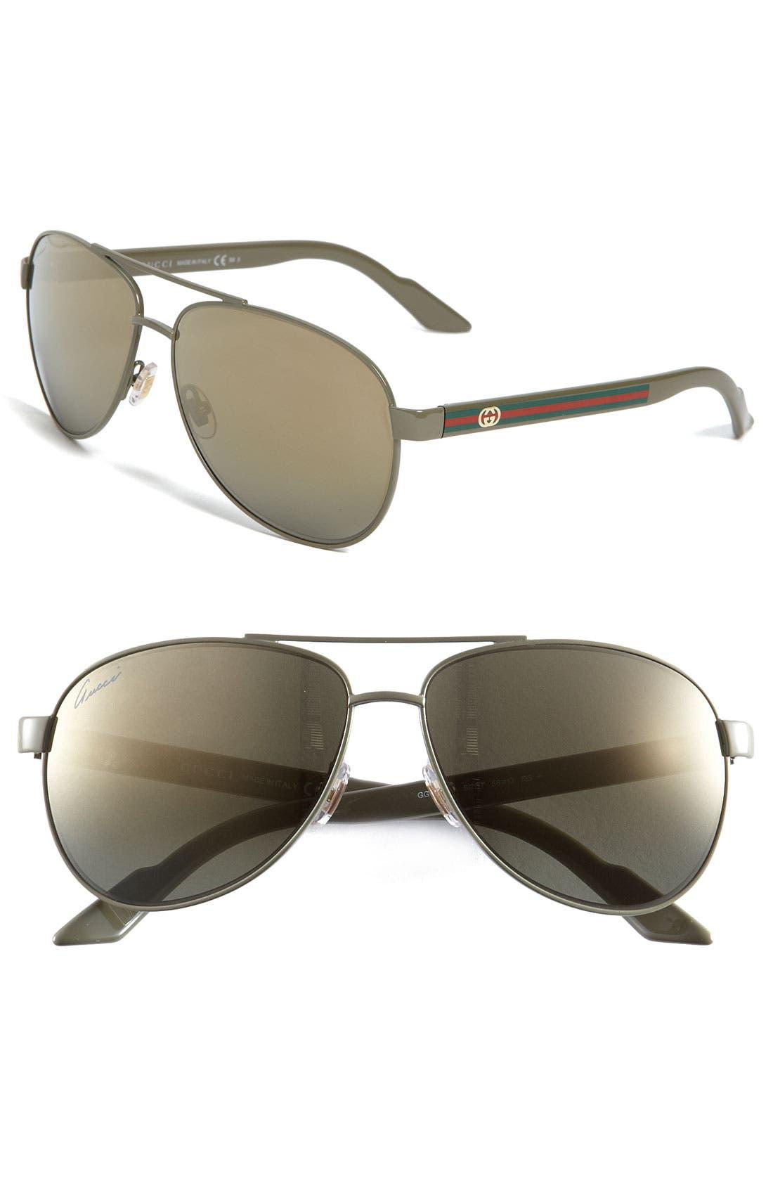 Main Image - Gucci 'Ribbon' 58mm Aviator Sunglasses