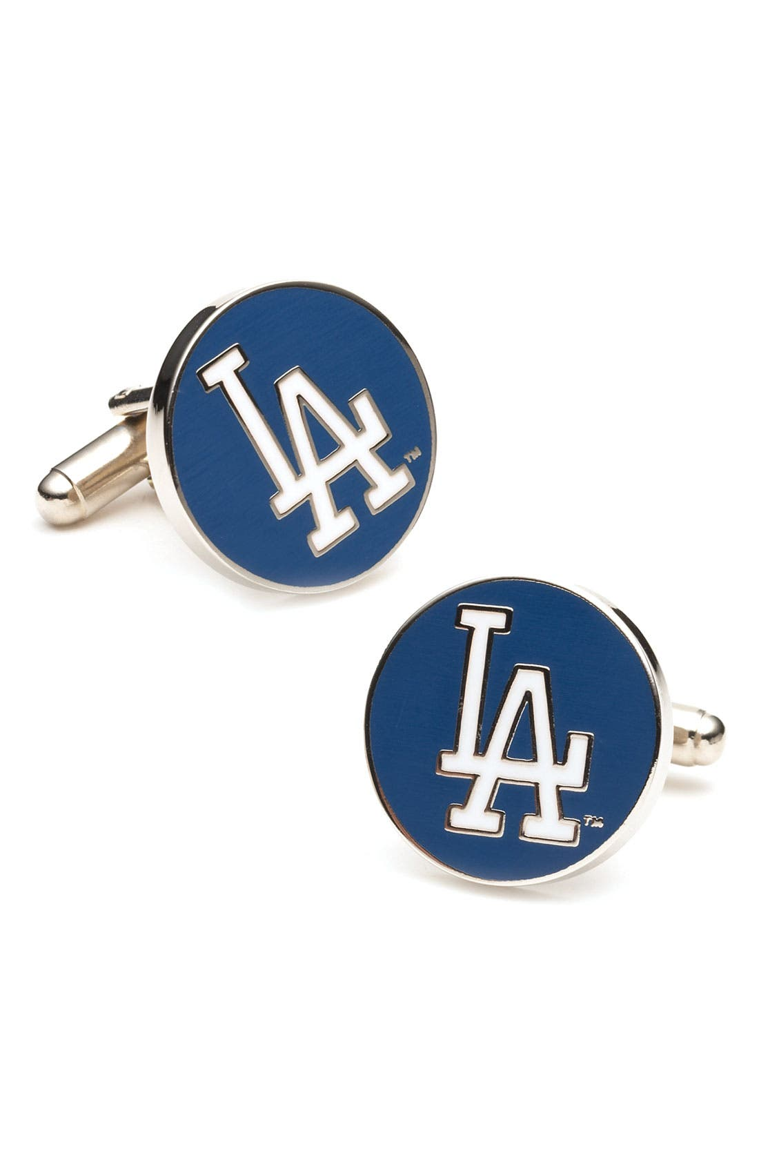 'Los Angeles Dodgers' Cuff Links,                             Main thumbnail 1, color,                             Blue/ White