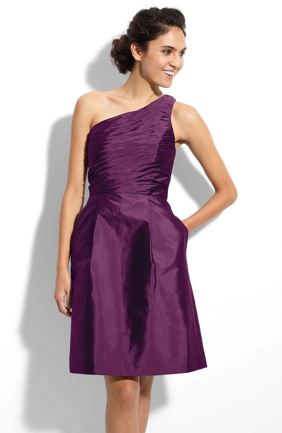 Alternate Image 1 Selected - ML Monique Lhuillier Bridesmaids One Shoulder Taffeta Dress