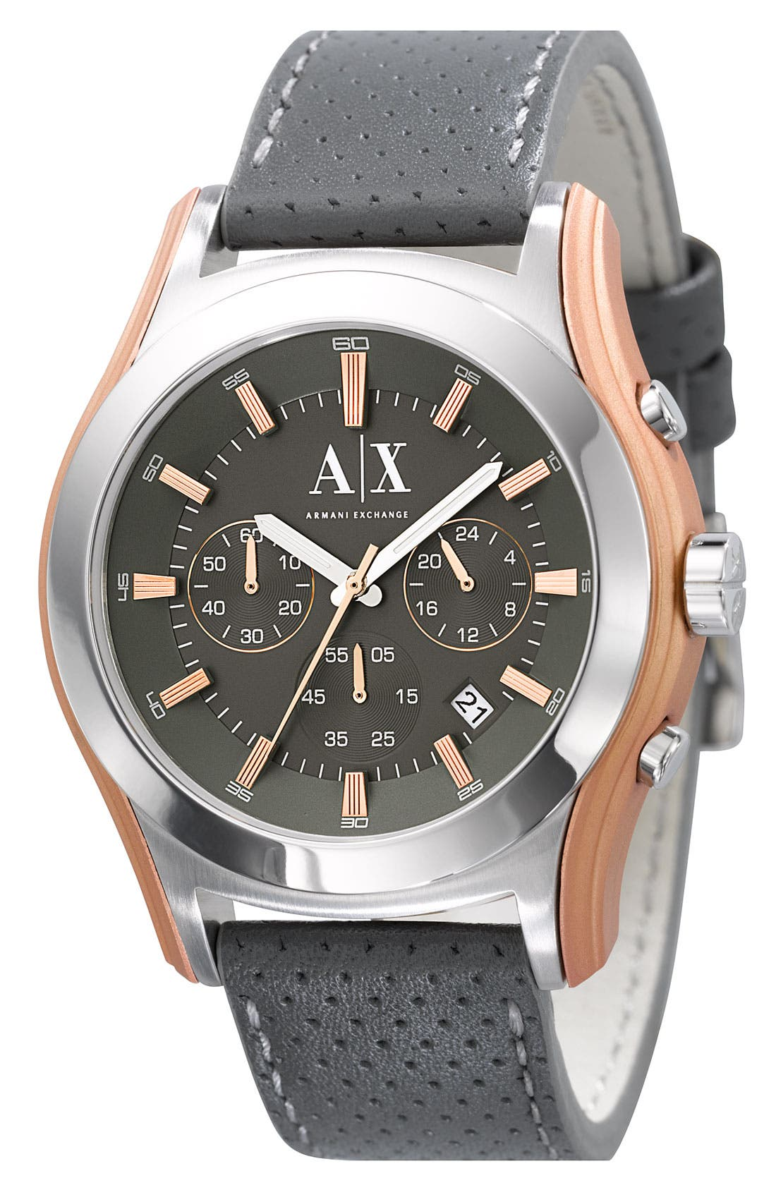 Chronograph Leather Strap Watch,                             Main thumbnail 1, color,                             Grey