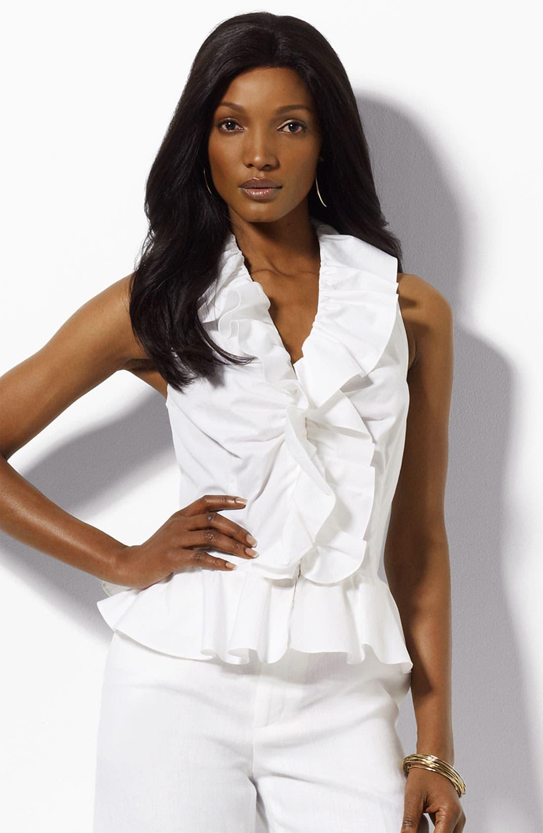 Lauren by Ralph Lauren Ruffled Top,                         Main,                         color, White