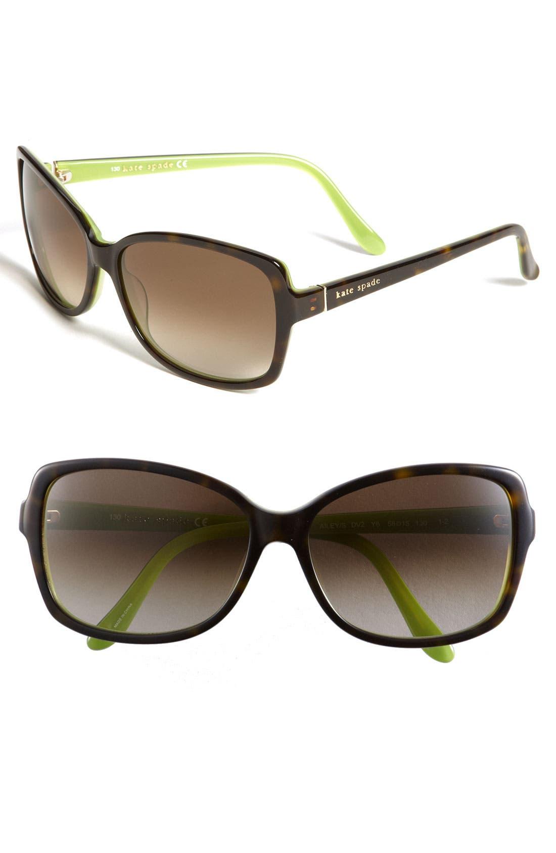 58mm two-tone sunglasses,                         Main,                         color, Tortoise Kiwi