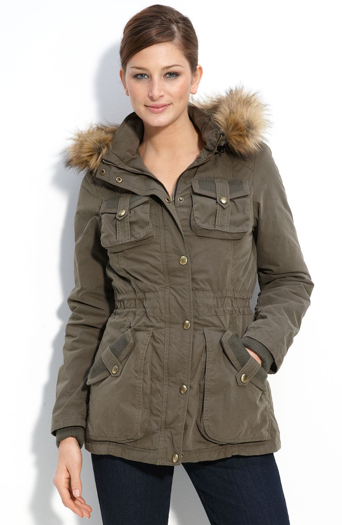 Alternate Image 1 Selected - Miss Sixty Knit Trim Anorak with Faux Fur Trim